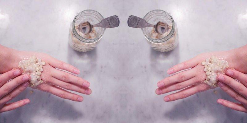 DIY Handpeeling Behandlung für trockene Hände