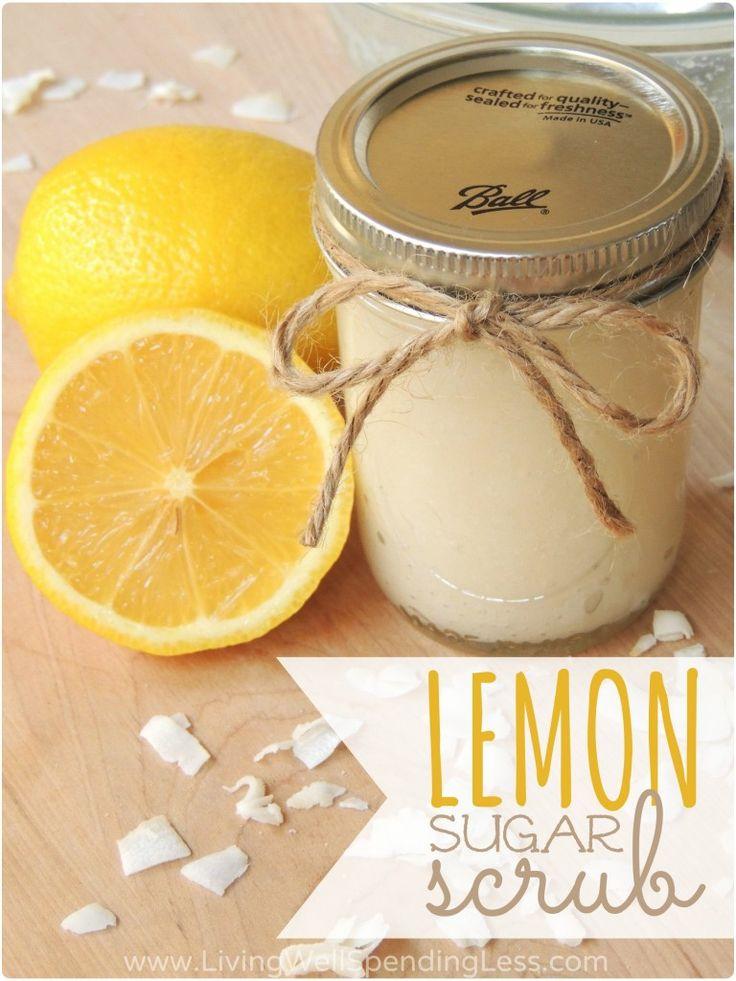 Handpeeling mit Zitronen und Zucker Behandlung für trockene Hände