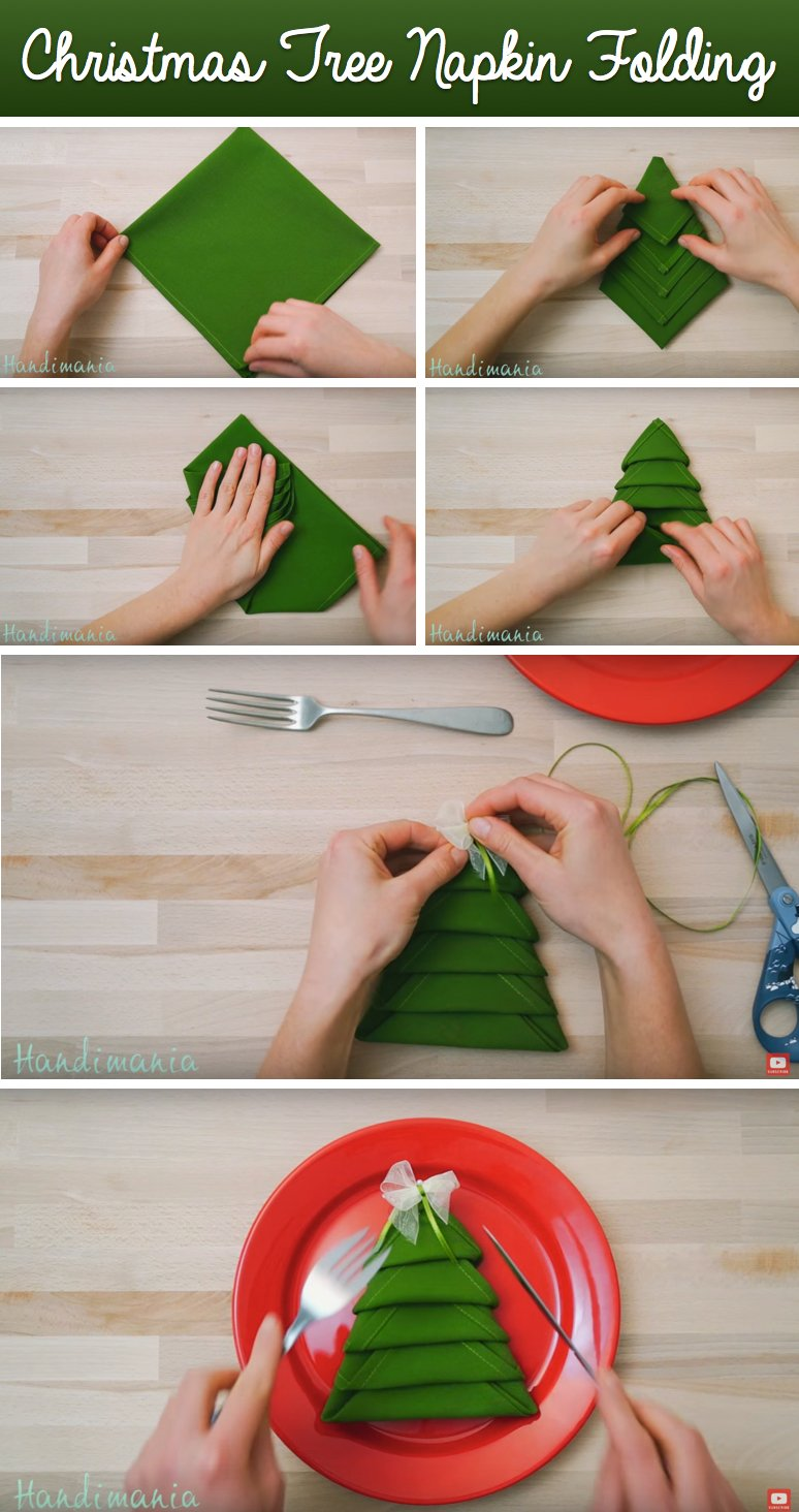 Tisch Decken Mit Servietten Tannenbaum In Der Adventszeit