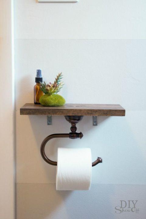 Schönes Regal als Hälter für Toilettenpapier nutzen - Badezimmer Deko Ideen