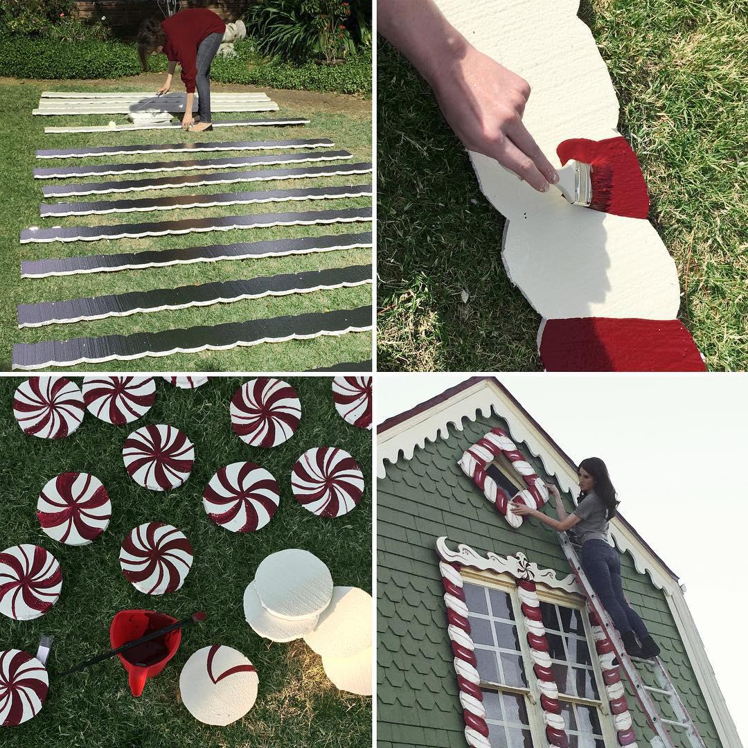 Lebkuchenhaus lebensgroß im Garten bauen - DIY Gartendeko zu Weihnachten