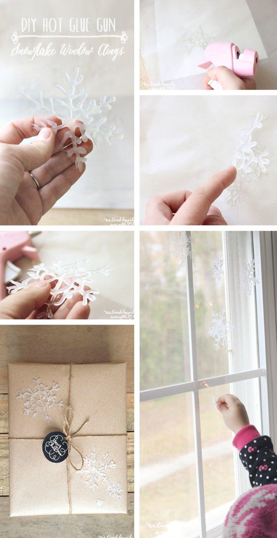 Begrüße Weihnachten mit diesen DIY glänzenden Schneeflocken aus Klebestoff - Pin es für später
