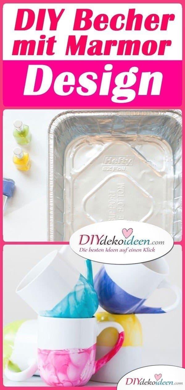 DIY Becher mit Marmor Design