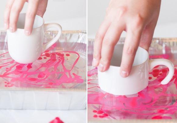 pinke Marmortassen selber machen - DIY Bastelideen mit Nagellack
