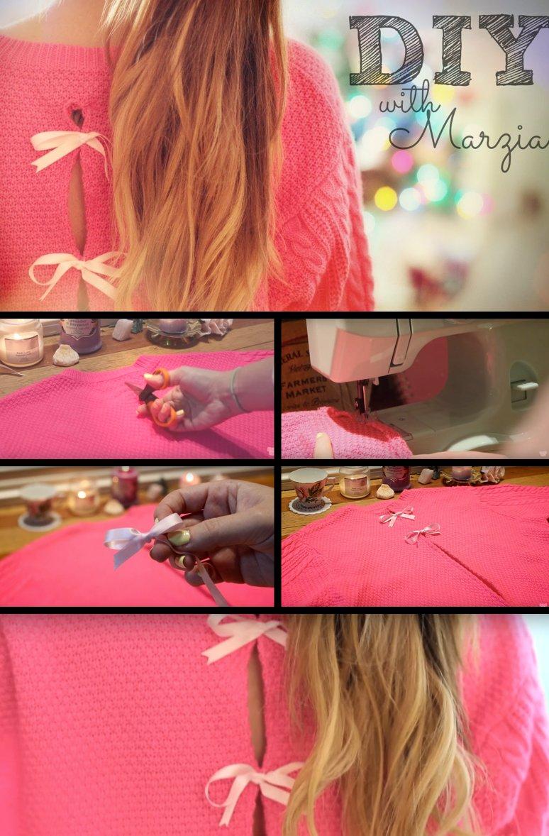 DIY Pullover - Schleifen an deinen Pullover nähen