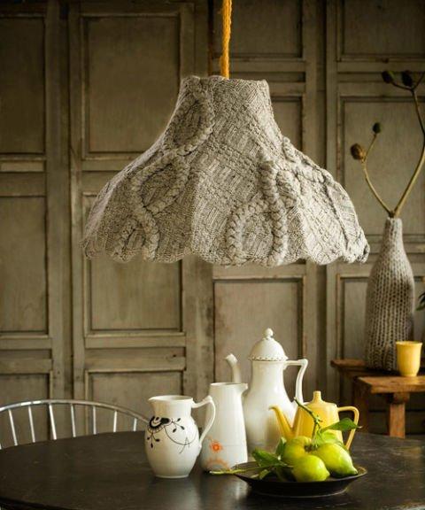 DIY Geschenkideen aus alten Pullovern - Lampenschirm