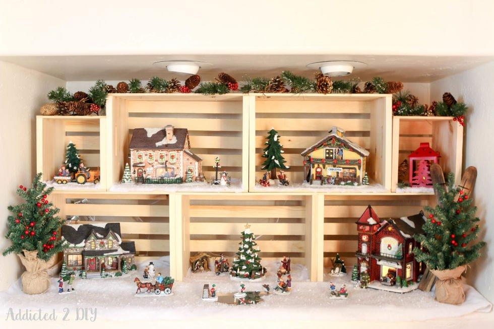 DIY Holzkisten-Deko-Wohndeko selber gestalten-Winterlandschaft-Bastelidee zu Weihnachten