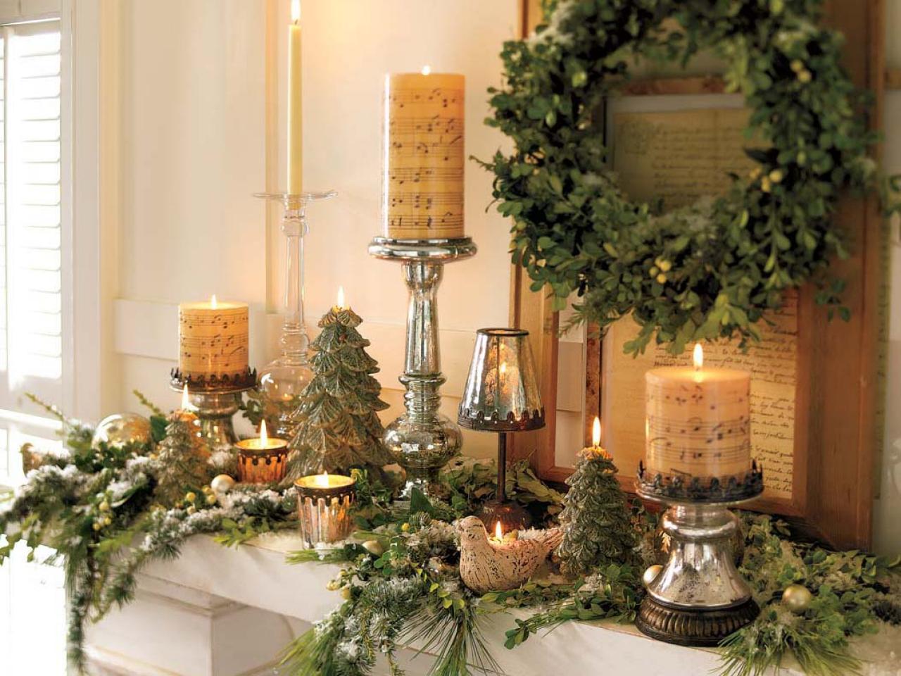 Weihnachtsdekorationen - Kaminsims