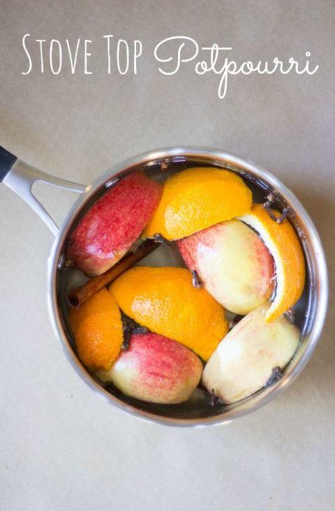 Potpourri mit Zimt, Äpfel und Orangen