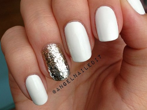 matte Nails- goldener Glitzer- festliches Nageldesign