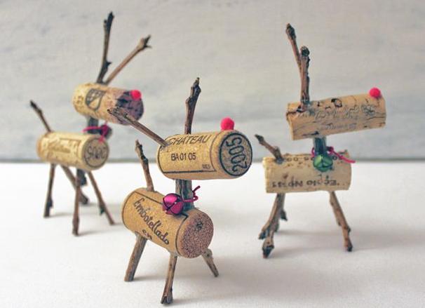 Kreative DIY Weinkorken Rentiere - fertige