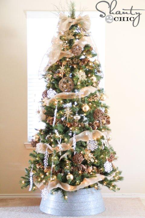 Weihnachtsbaum mit Jute schmücken-Vintage Weihnachtsdeko