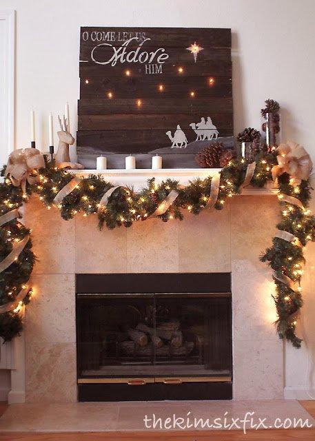Weihnachtsgirlande mit Jute veredeln-Kamin-Deko zu Weihnachten