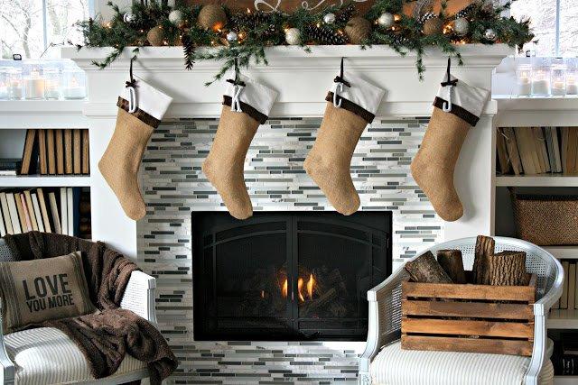 Weihnachtssocken aus Jute nähen-Weihnachts-Dekoideen