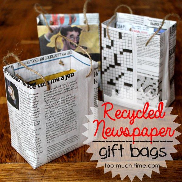 Geschenktüten selber machen aus Zeitungspapier