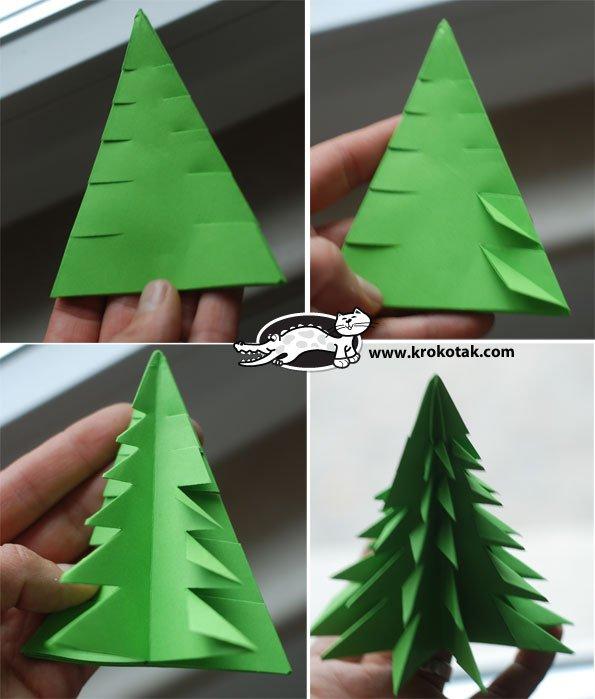 DIY Ideen aus Papier für Kinder-Tannenbaum Origami