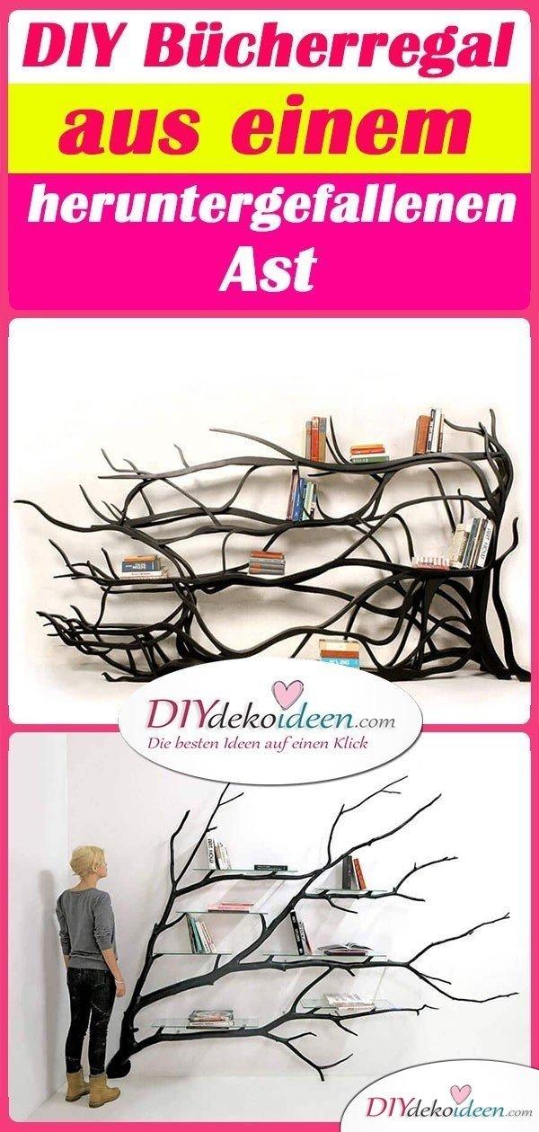 DIY Bücherregal aus einem heruntergefallenen Ast