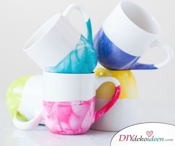DIY Becher mit Marmor Design