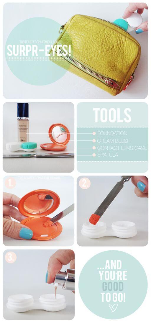 Make-Up im Kontaktlinsenhalter - Super Idee für kleine Taschen