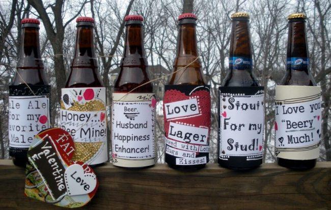 Bierflaschen schmücken - Getränk mit Liebeserklärung verschenken