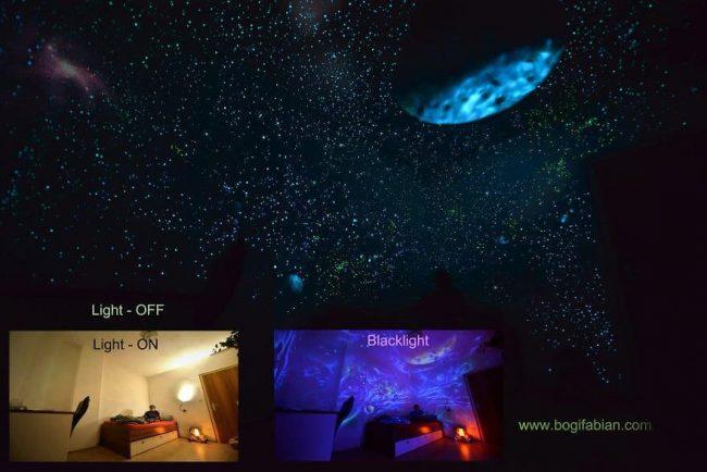 Leuchtende Wandmalerei – Sterne an die Wand malen - Sternenhimmel Wanddeko