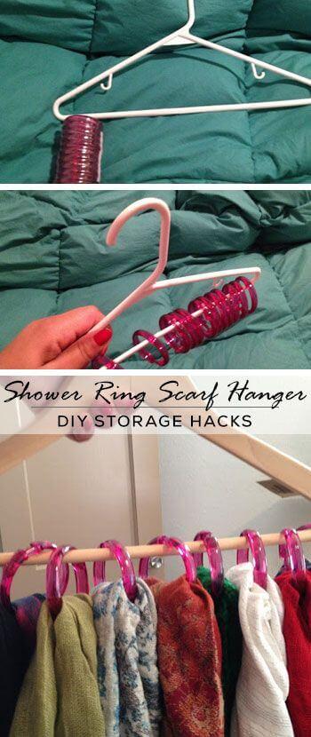 DIY Life Hacks mit Kleiderhaken - Halter für Schals basteln