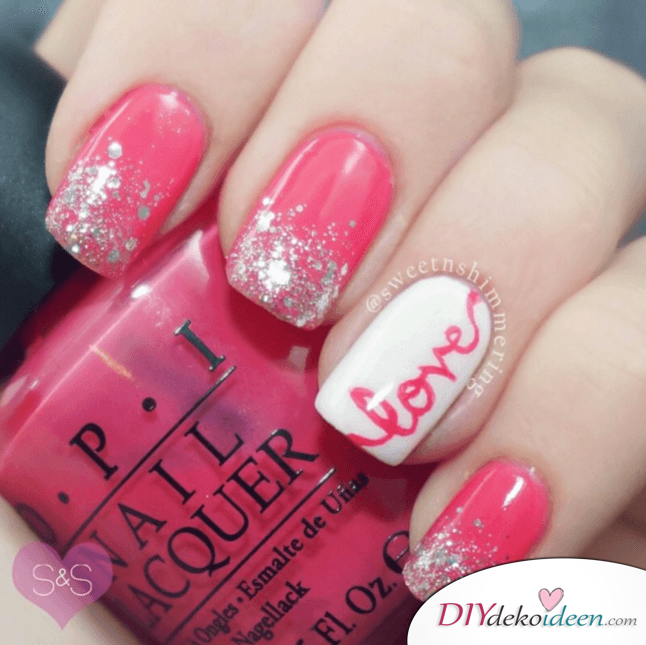 Hübsches Valentinstag Love Design - Nailart