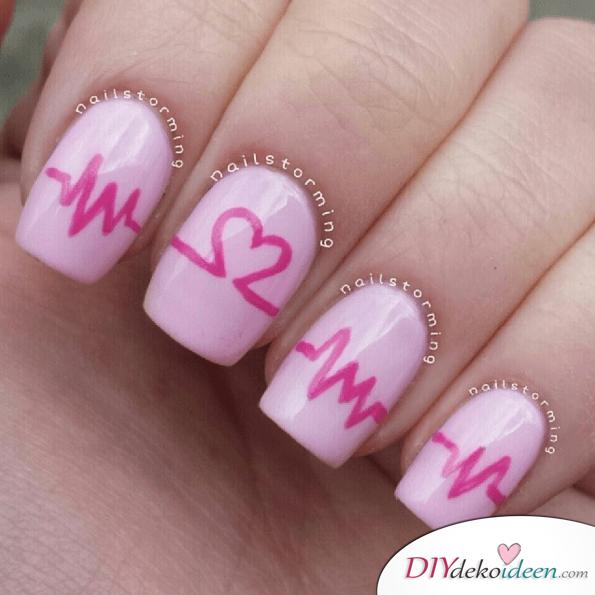 Herzschlag Nageldesign - pinkes Nailart zum Valentinstag