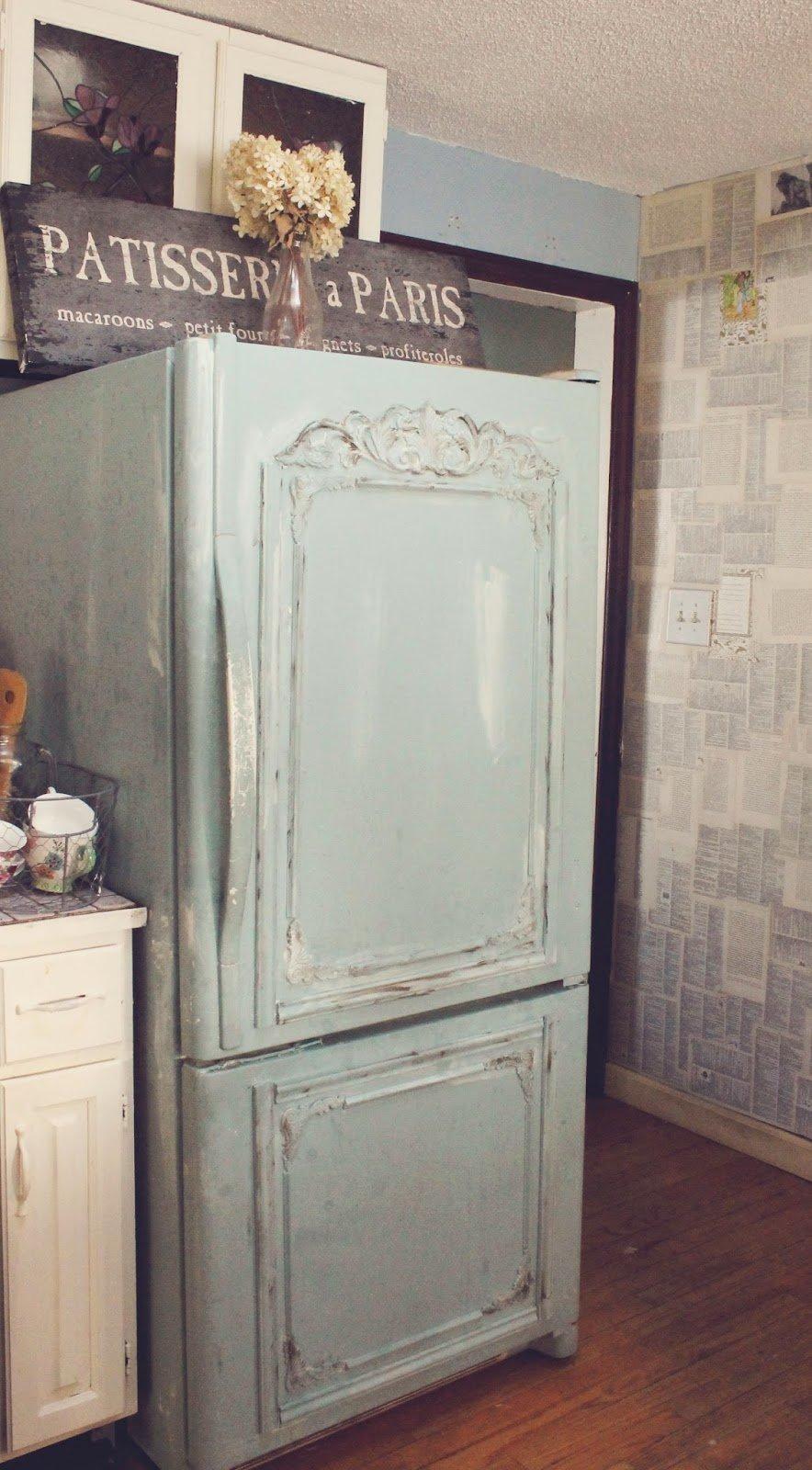 DIY Kühlschrank Deko Idee im Shabby Chic Design