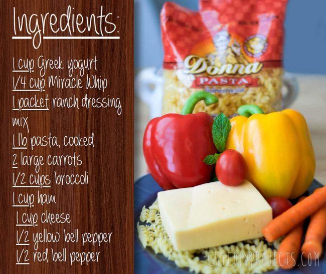 Zutaten für den Ranch Nudelsalat