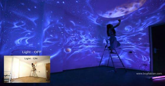 Leuchtende Wandmalerei – als die Lichter erlöschen siehst du eine neue Welt