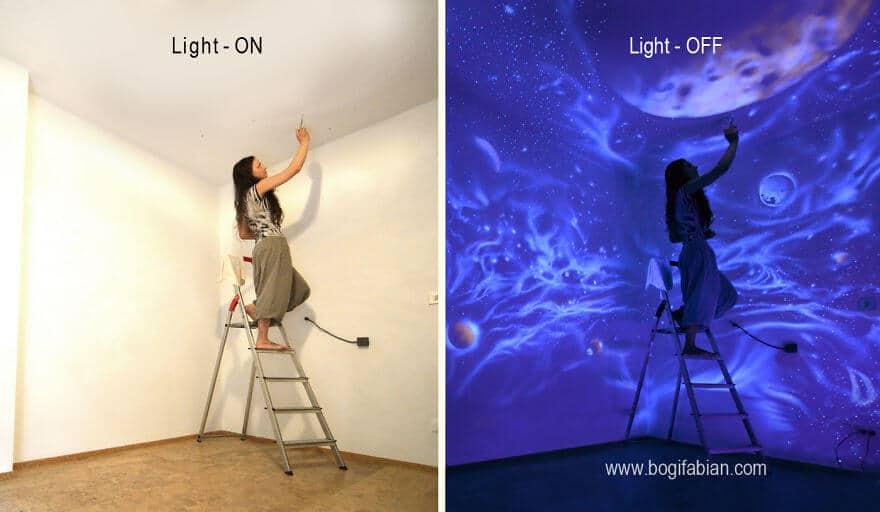 leuchtende wandmalerei wenn die lichter erl schen siehst. Black Bedroom Furniture Sets. Home Design Ideas