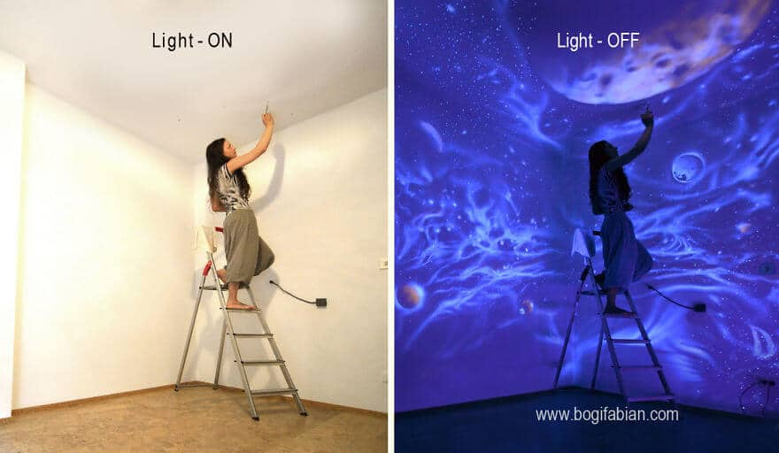 Leuchtende Wandmalerei - glänzende Wanddeko selber machen