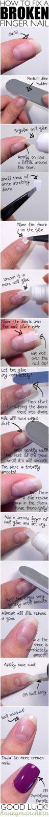 DIY Beauty Ideen - gebrochenen Nagel reparieren