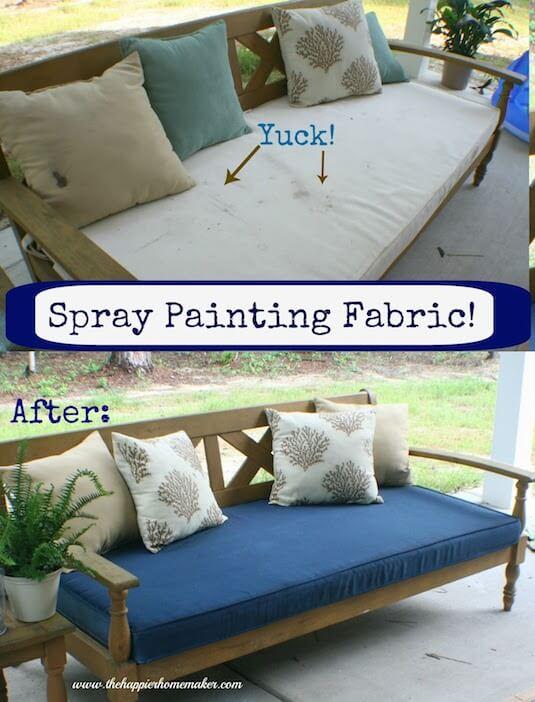 Coole Farbspray Ideen, mit der du eine Menge Geld sparen kannst - Polster mit Farbspray renovieren