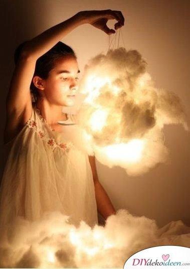 DIY Hängelampe selber machen-kreative Wolkenlampe für das Kinderzimmer