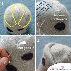 Augenbrauen und Ohren nähen-DIY Bastelideen mit Socken