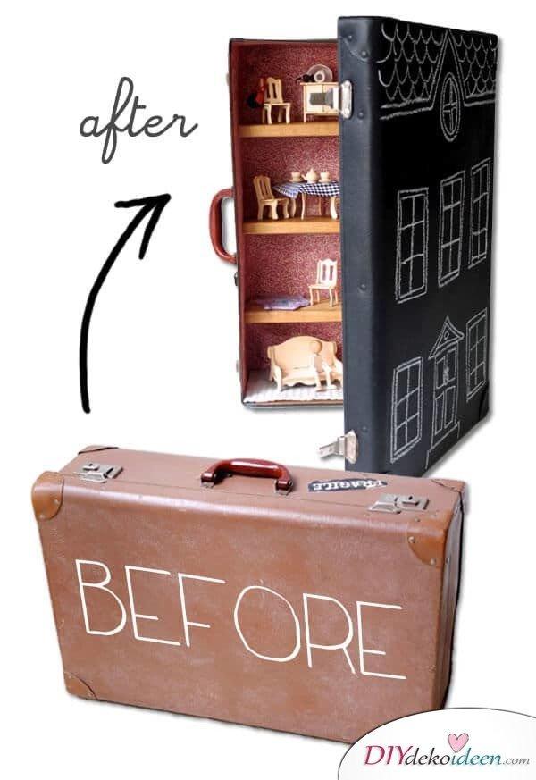 DIY Puppenhaus - Koffer weiderverwenden - Spiel für Mädchen basteln