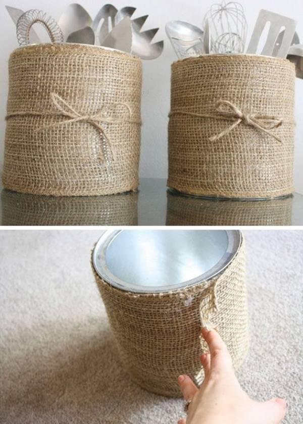DIY Besteckbehälter aus alten Konservendosen basteln