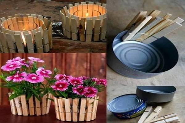 Kerzenhalter und Blumentöpfe aus Konservendosen und Wäscheklammern basteln