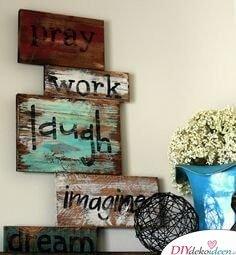 rustikale Wohndeko mit Holz- Wanddeko Ideen