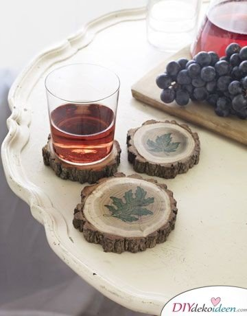 Glasuntersetzer aus Holz basteln - Deko Ideen