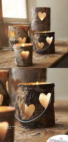 DIY Kerzenhalter aus Holz basteln - rustikale Deko -Stimmungslicht