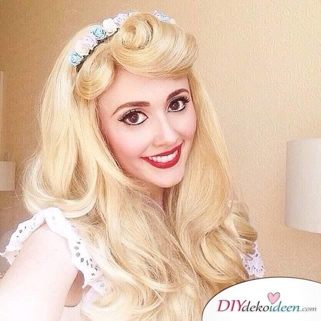 Disney Faschingskostüm-Dornröschen Make-up und Haar