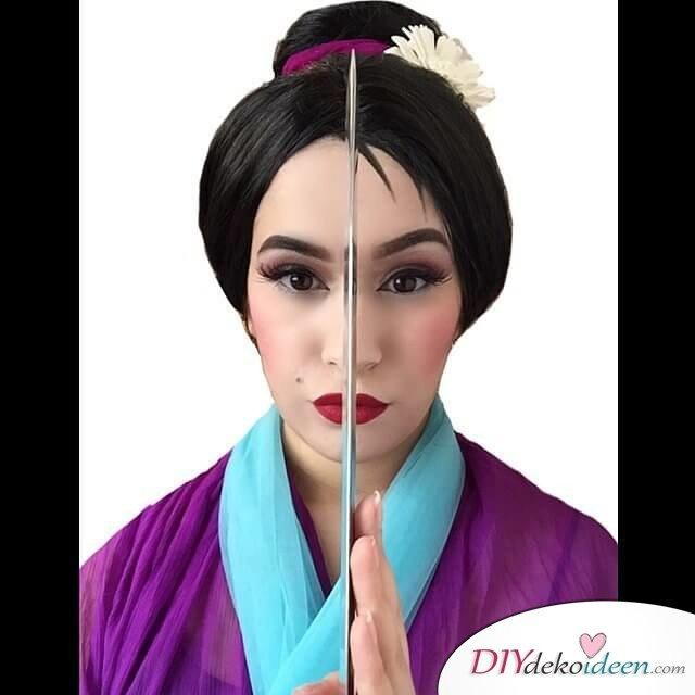 Disney Faschingskostüm-Mulan Haar und Makeup