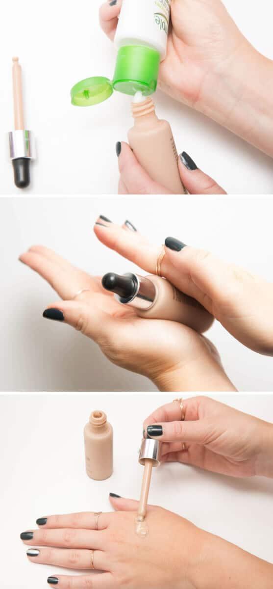 Grundierung mit Geischtscreme vermischen - Make-Up Hacks