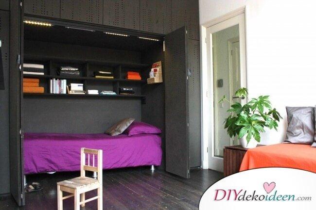 Bett im Schrank - Einrichtungsideen bei wenig Platz