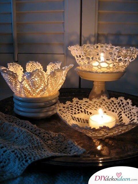 Deko Kerzenhalter aus Spitze selber machen