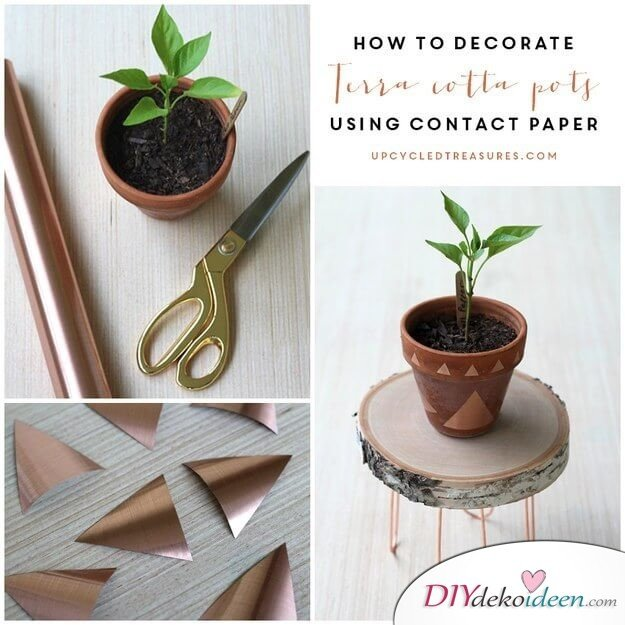 DIY Wohndeko Bastelideen-Blumentopf mit Kontaktpapier veredeln