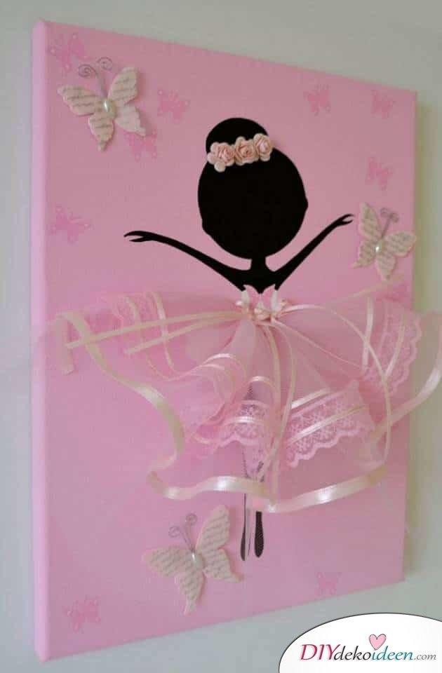 Leinwand Kunst Basteln mit Kleinkinder - Deko für das Mädchenzimmer